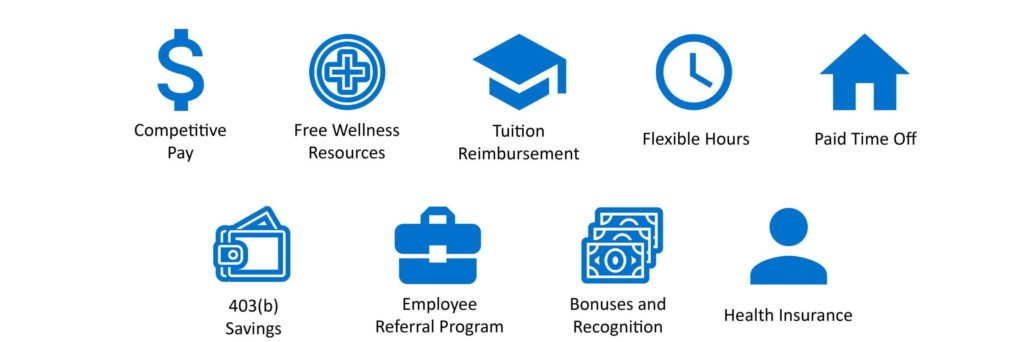 KenCrest benefits, competitive pay, free wellness resources, tuition reimbursement, flexible hours, paid time off, 403B savings, employee referral program, bonuses and recognition, health insurance
